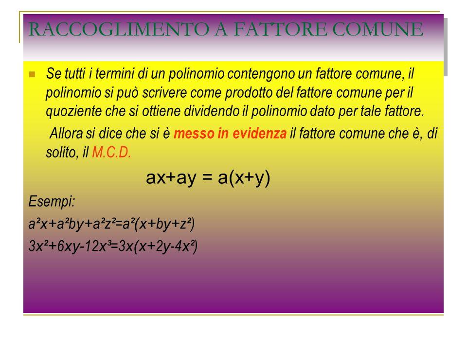 RACCOGLIMENTI SUCCESSIVI A FATTORE COMUNE Consideriamo il polinomio ax + bx + ay +by i primi due monomi hanno in comune x e gli ultimi due y allora tra i primi due raccolgo la x e tra gli ultimi due la y ax + bx + ay +by = x(a+b) + y(a+b) noto che ho due termini con le parentesi uguali, quindi posso raccogliere tutta la parentesi ax + bx + ay +by = x(a+b) + y(a+b) = (a+b)(x+y)