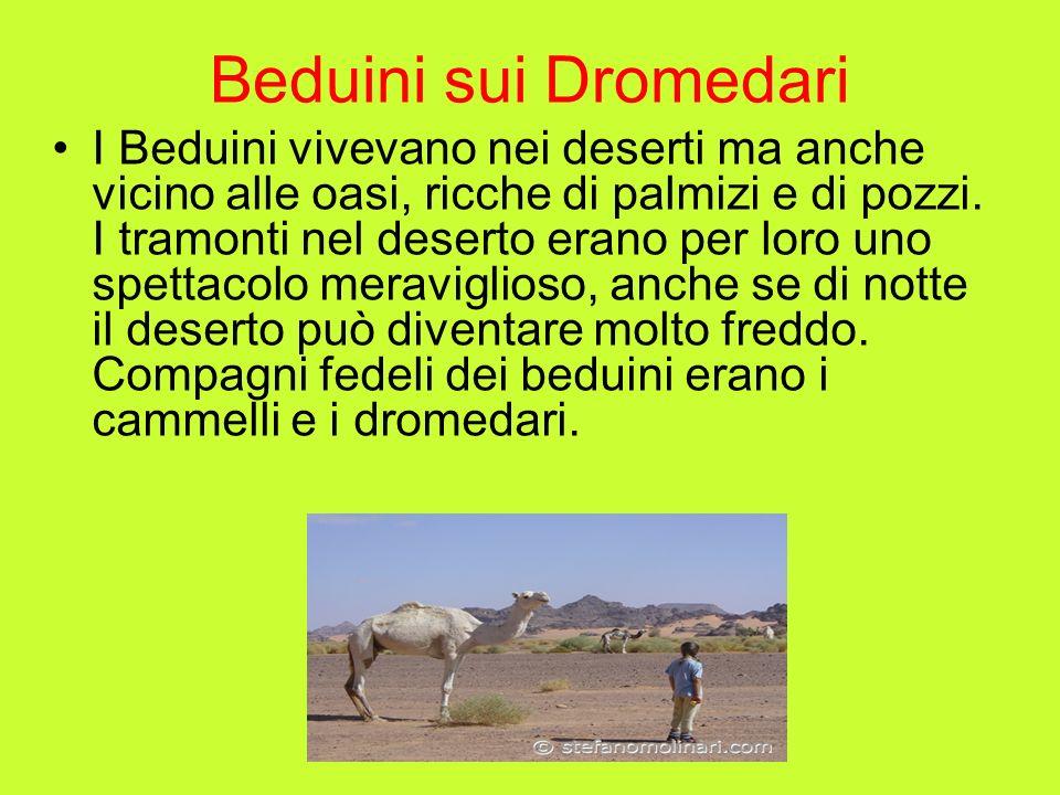 Beduini sui Dromedari I Beduini vivevano nei deserti ma anche vicino alle oasi, ricche di palmizi e di pozzi. I tramonti nel deserto erano per loro un