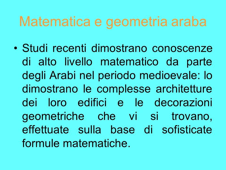 Matematica e geometria araba Studi recenti dimostrano conoscenze di alto livello matematico da parte degli Arabi nel periodo medioevale: lo dimostrano