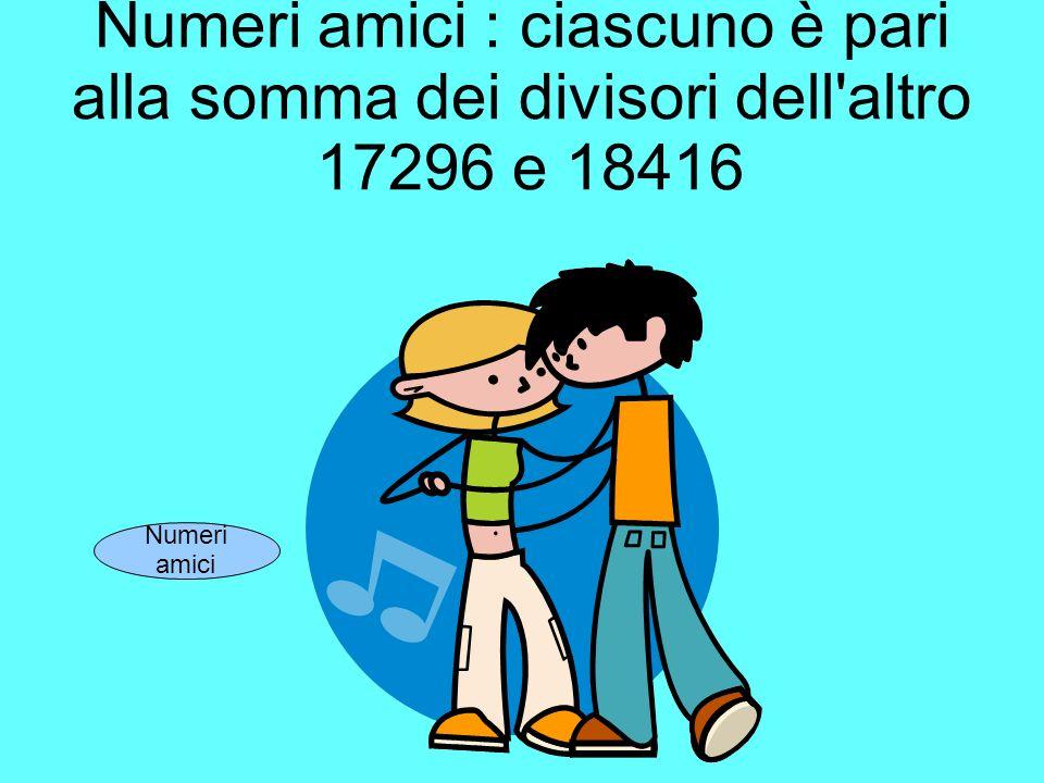 Numeri amici : ciascuno è pari alla somma dei divisori dell'altro 17296 e 18416 Numeri amici