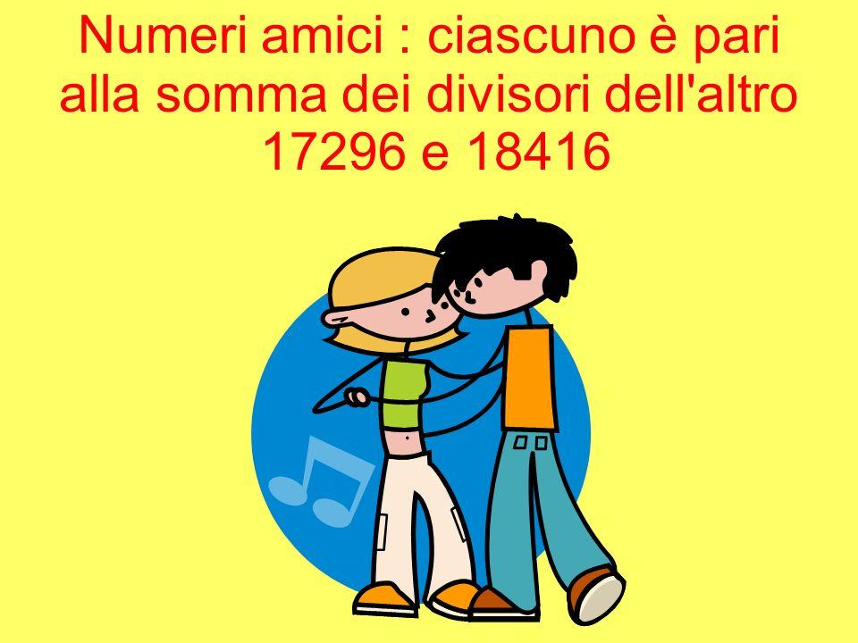 Numeri amici : ciascuno è pari alla somma dei divisori dell'altro 17296 e 18416