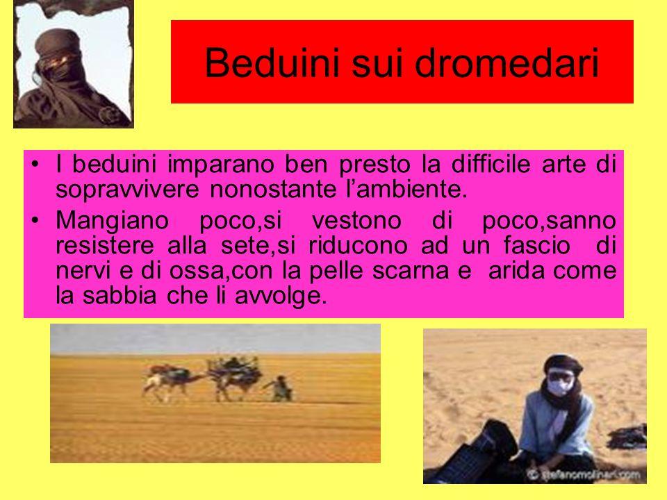 I beduini imparano ben presto la difficile arte di sopravvivere nonostante lambiente. Mangiano poco,si vestono di poco,sanno resistere alla sete,si ri