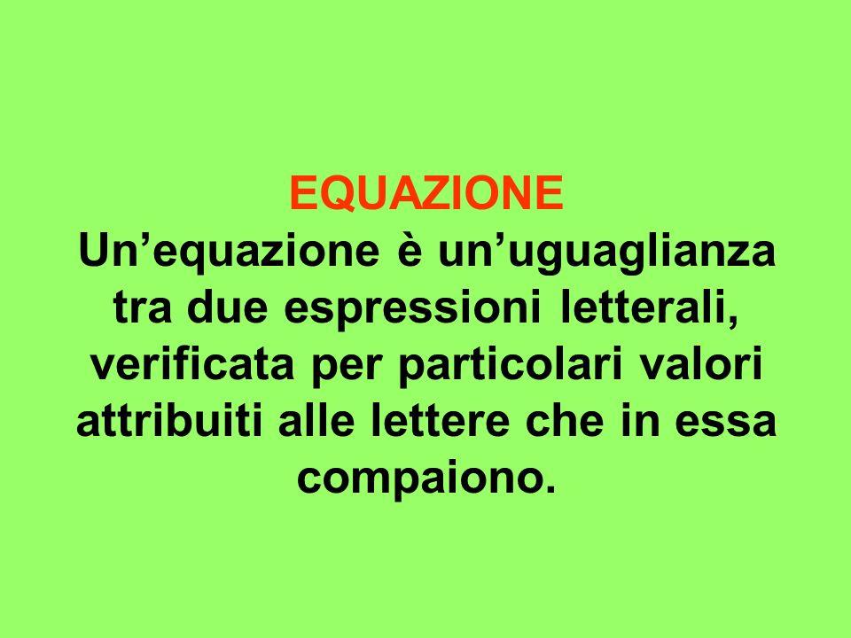 EQUAZIONE Unequazione è unuguaglianza tra due espressioni letterali, verificata per particolari valori attribuiti alle lettere che in essa compaiono.