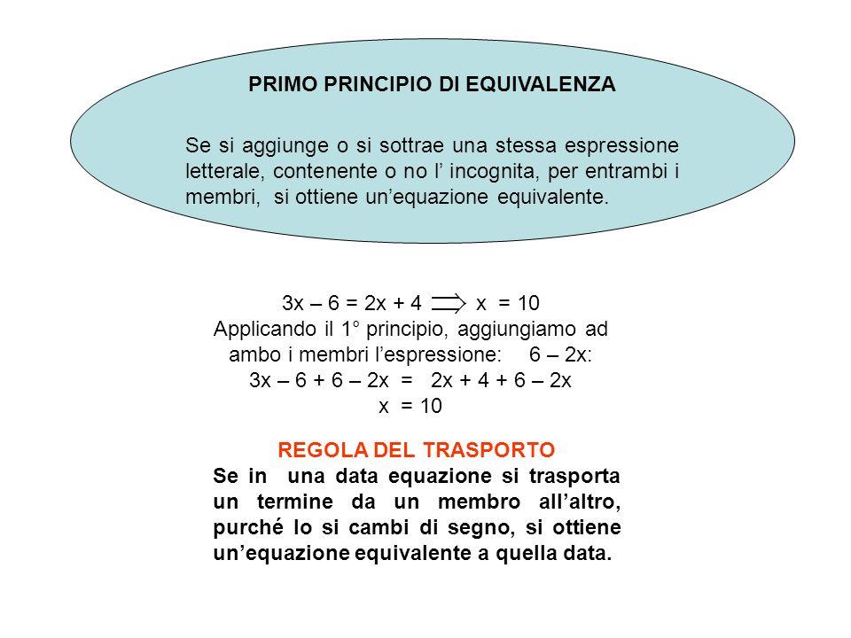 PRIMO PRINCIPIO DI EQUIVALENZA Se si aggiunge o si sottrae una stessa espressione letterale, contenente o no l incognita, per entrambi i membri, si ottiene unequazione equivalente.