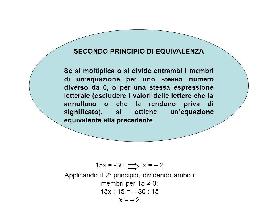 SECONDO PRINCIPIO DI EQUIVALENZA Se si moltiplica o si divide entrambi i membri di unequazione per uno stesso numero diverso da 0, o per una stessa espressione letterale (escludere i valori delle lettere che la annullano o che la rendono priva di significato), si ottiene unequazione equivalente alla precedente.