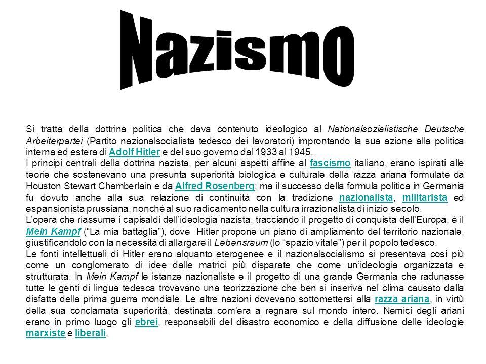 Si tratta della dottrina politica che dava contenuto ideologico al Nationalsozialistische Deutsche Arbeiterpartei (Partito nazionalsocialista tedesco
