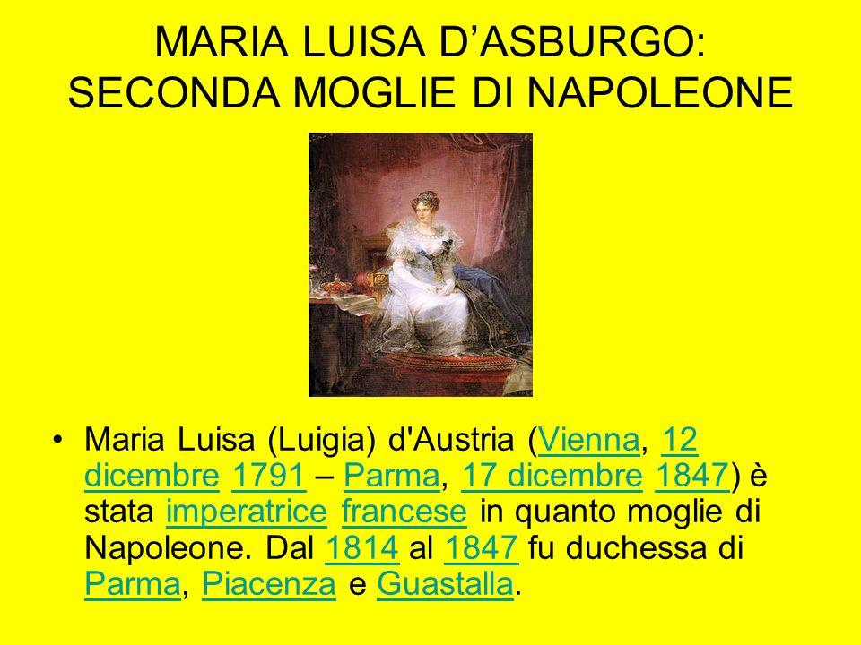 MARIA LUISA DASBURGO: SECONDA MOGLIE DI NAPOLEONE Maria Luisa (Luigia) d'Austria (Vienna, 12 dicembre 1791 – Parma, 17 dicembre 1847) è stata imperatr