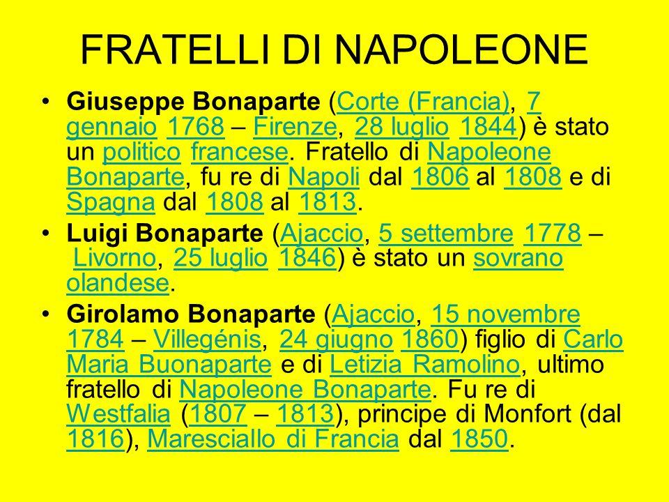 FRATELLI DI NAPOLEONE Giuseppe Bonaparte (Corte (Francia), 7 gennaio 1768 – Firenze, 28 luglio 1844) è stato un politico francese. Fratello di Napoleo