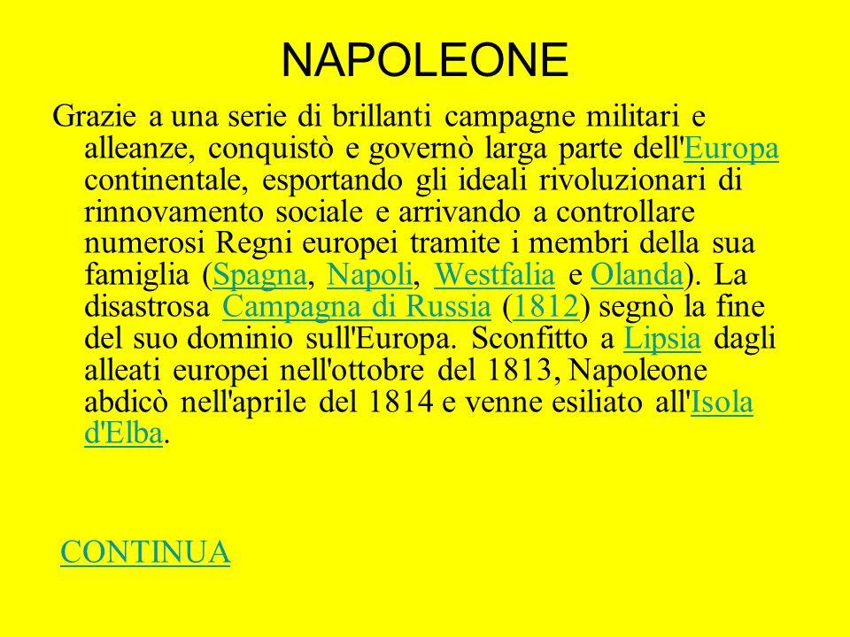 NAPOLEONE Grazie a una serie di brillanti campagne militari e alleanze, conquistò e governò larga parte dell'Europa continentale, esportando gli ideal