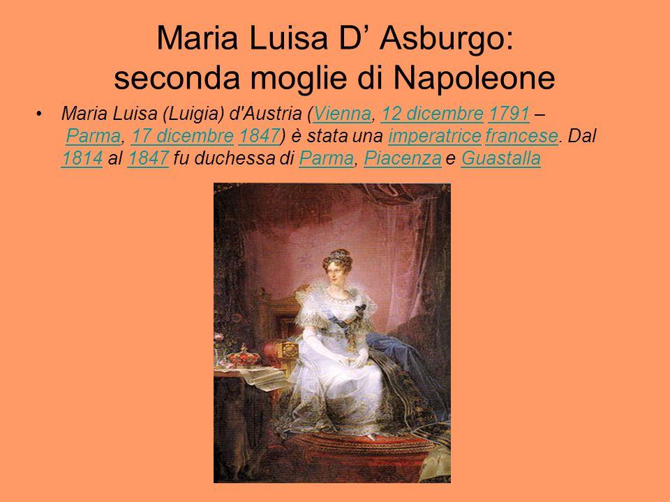 Maria Luisa D Asburgo: seconda moglie di Napoleone Maria Luisa (Luigia) d'Austria (Vienna, 12 dicembre 1791 – Parma, 17 dicembre 1847) è stata una imp