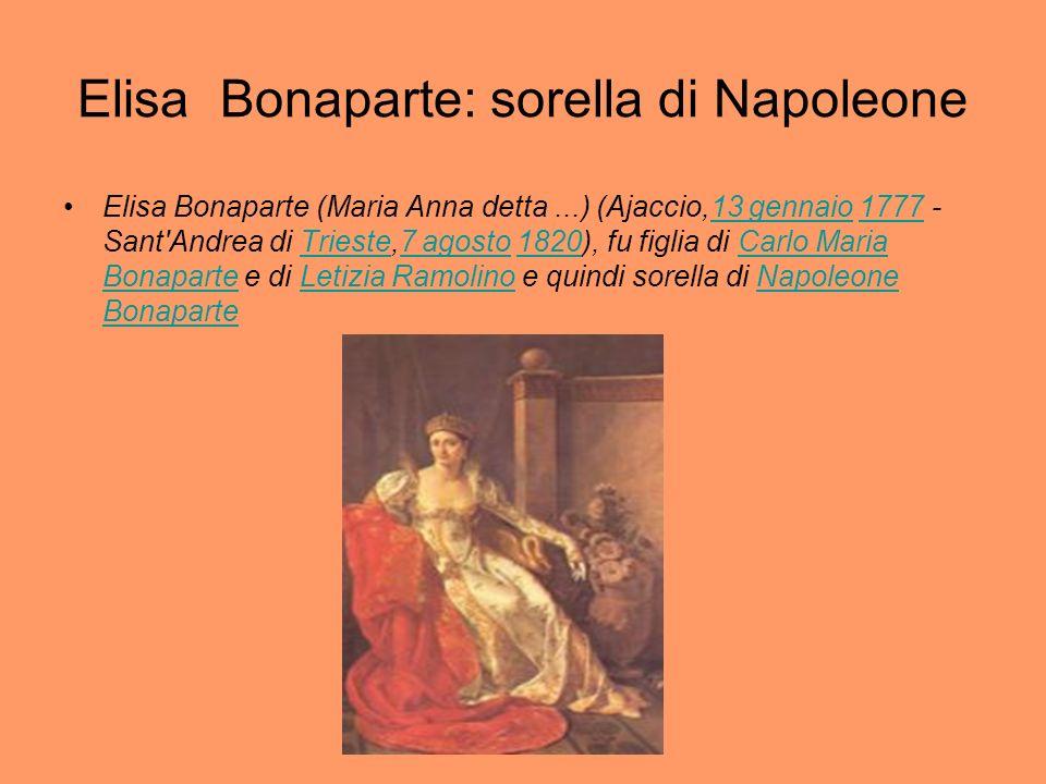 Elisa Bonaparte: sorella di Napoleone Elisa Bonaparte (Maria Anna detta...) (Ajaccio,13 gennaio 1777 - Sant'Andrea di Trieste,7 agosto 1820), fu figli