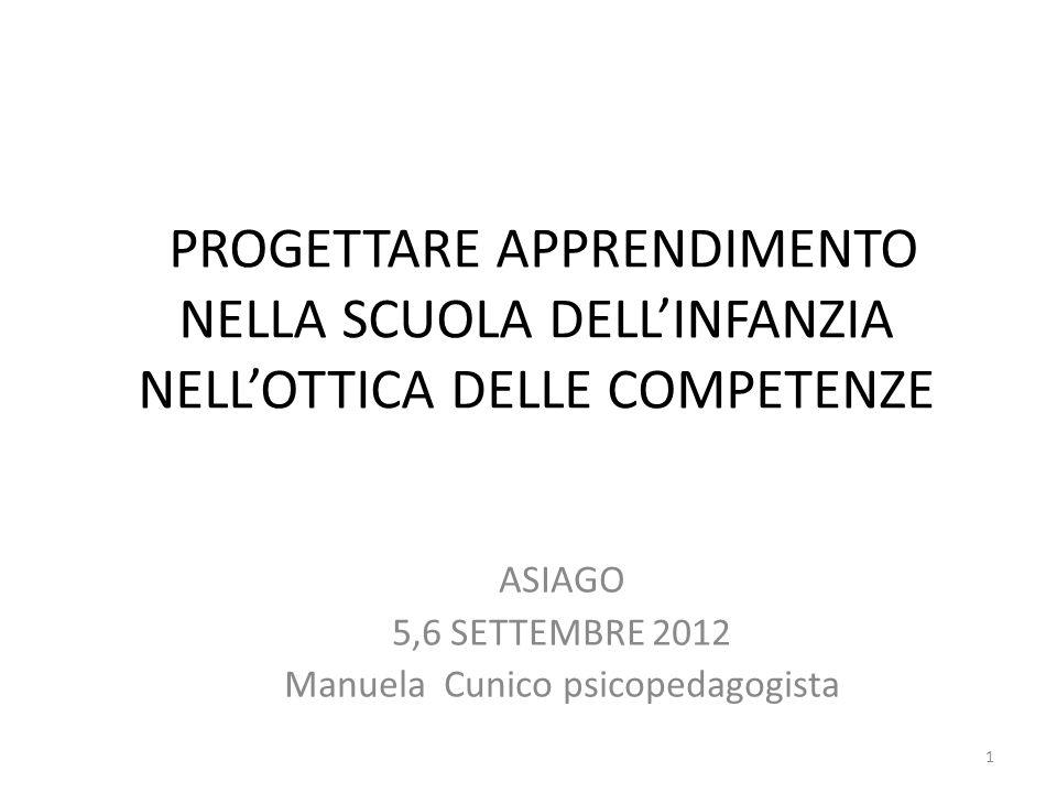 PROGETTARE APPRENDIMENTO NELLA SCUOLA DELLINFANZIA NELLOTTICA DELLE COMPETENZE ASIAGO 5,6 SETTEMBRE 2012 Manuela Cunico psicopedagogista 1