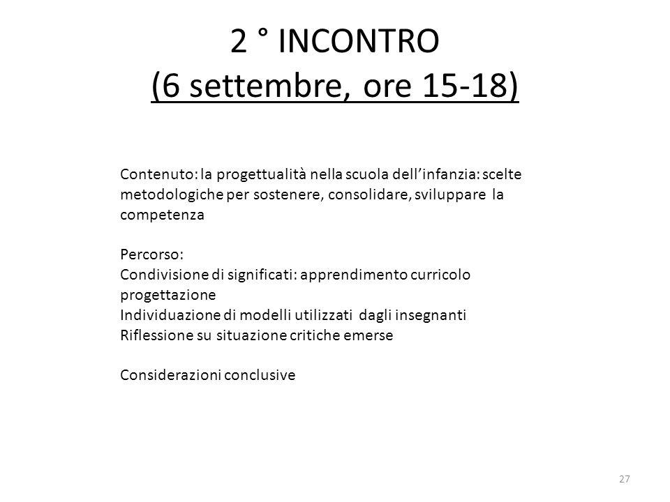 2 ° INCONTRO (6 settembre, ore 15-18) Contenuto: la progettualità nella scuola dellinfanzia: scelte metodologiche per sostenere, consolidare, sviluppa