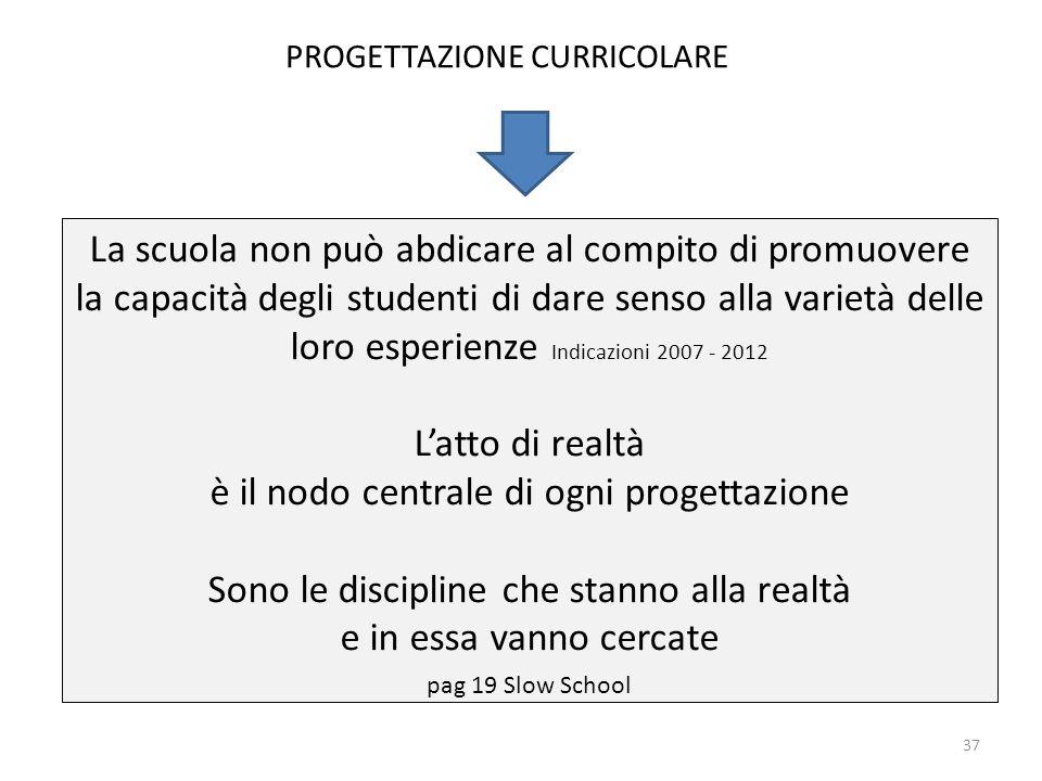 La scuola non può abdicare al compito di promuovere la capacità degli studenti di dare senso alla varietà delle loro esperienze Indicazioni 2007 - 201