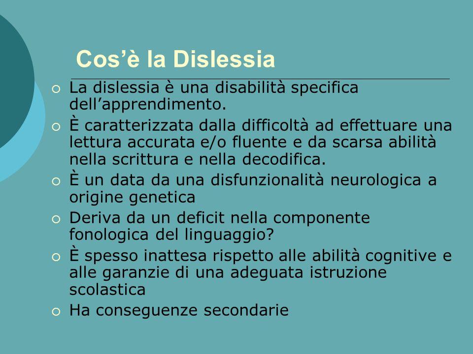 Cosè la Dislessia La dislessia è una disabilità specifica dellapprendimento.