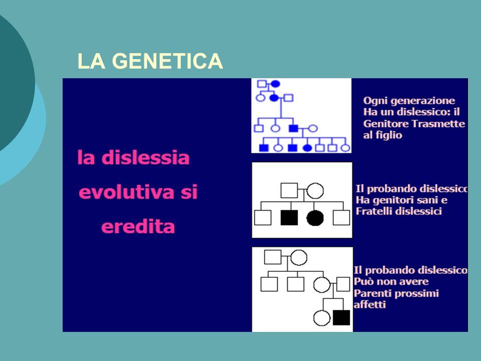 La Neuropsicologia della dislessia: lo stato dellarte Dati a favore di un origine genetica Un modello di funzionamento condiviso della funzionalità di