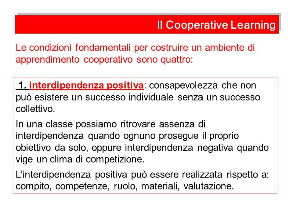 1. interdipendenza positiva: consapevolezza che non può esistere un successo individuale senza un successo collettivo. In una classe possiamo ritrovar
