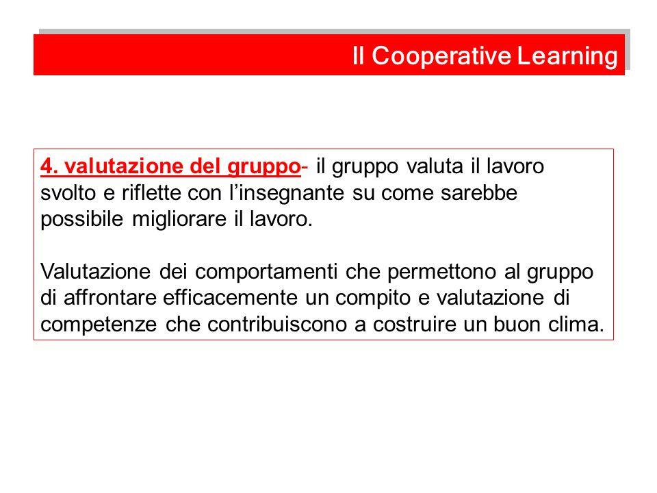 4. valutazione del gruppo- il gruppo valuta il lavoro svolto e riflette con linsegnante su come sarebbe possibile migliorare il lavoro. Valutazione de