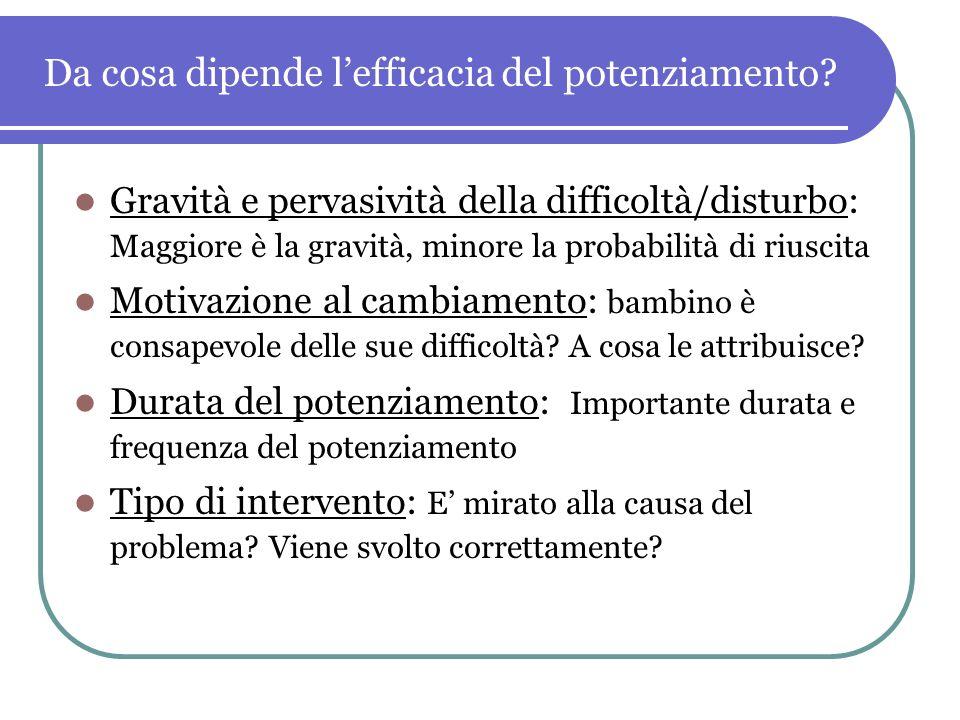Da cosa dipende lefficacia del potenziamento? Gravità e pervasività della difficoltà/disturbo: Maggiore è la gravità, minore la probabilità di riuscit