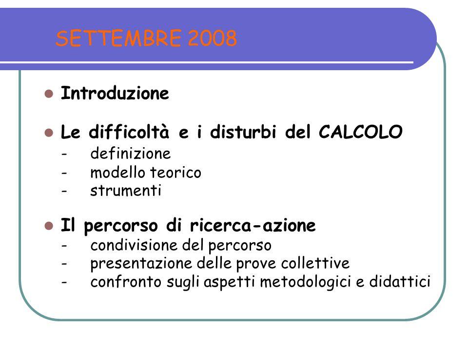 SETTEMBRE 2008 Introduzione Le difficoltà e i disturbi del CALCOLO - definizione - modello teorico - strumenti Il percorso di ricerca-azione - condivi