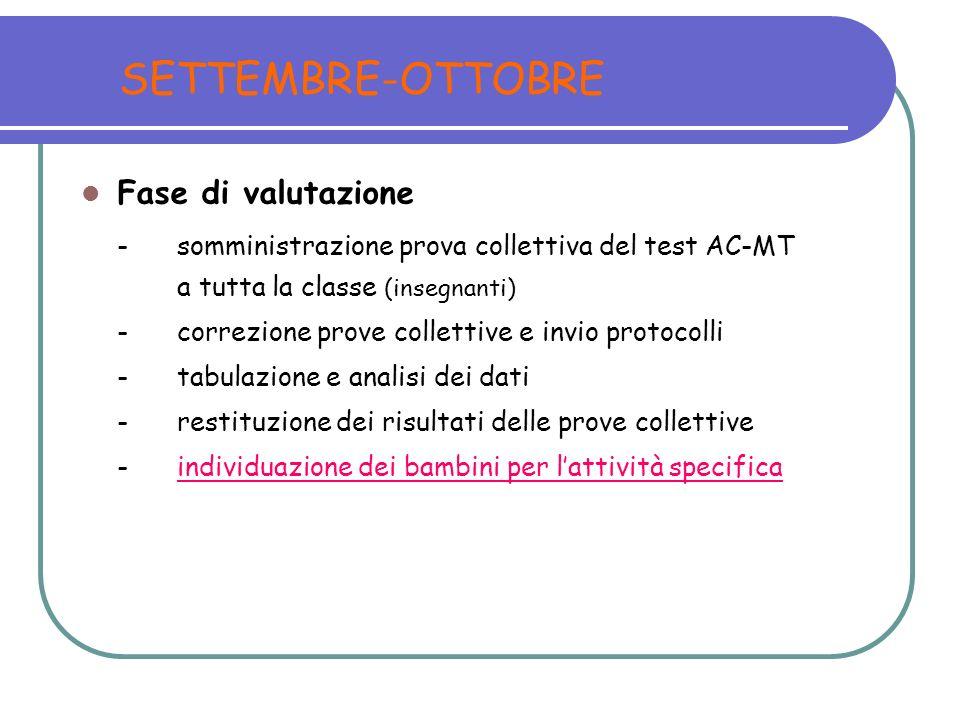 SETTEMBRE-OTTOBRE Fase di valutazione -somministrazione prova collettiva del test AC-MT a tutta la classe (insegnanti) -correzione prove collettive e