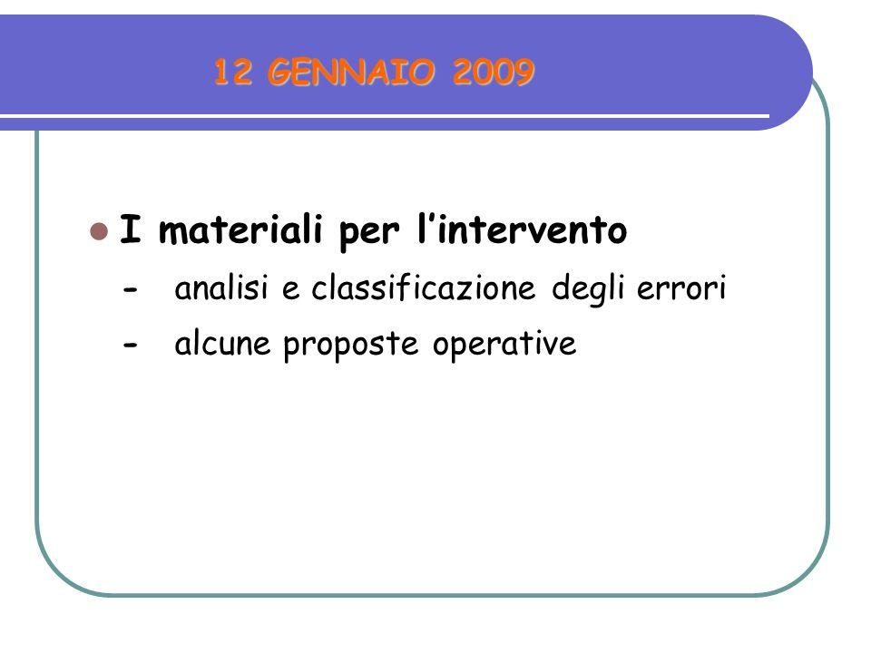 12 GENNAIO 2009 I materiali per lintervento -analisi e classificazione degli errori -alcune proposte operative