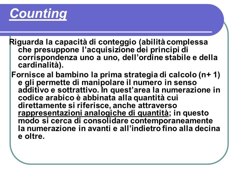 Counting Riguarda la capacità di conteggio (abilità complessa che presuppone lacquisizione dei principi di corrispondenza uno a uno, dellordine stabile e della cardinalità).