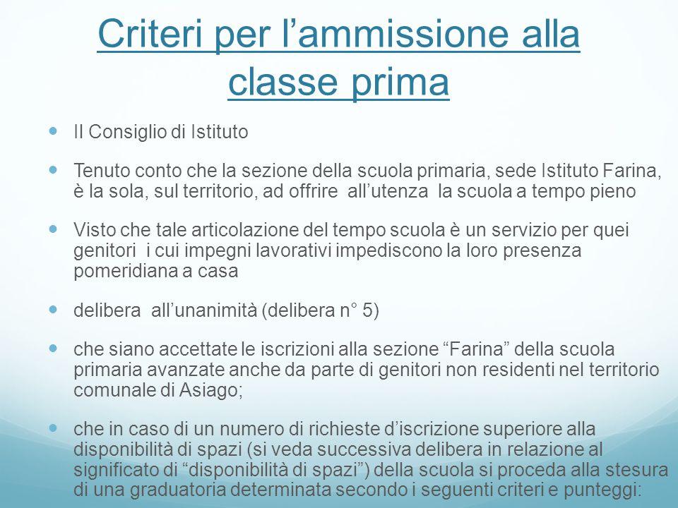 Criteri per lammissione alla classe prima Il Consiglio di Istituto Tenuto conto che la sezione della scuola primaria, sede Istituto Farina, è la sola,