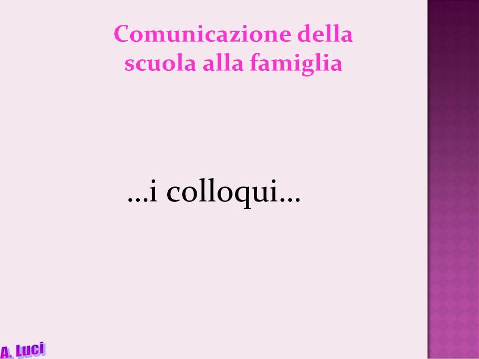 Comunicazione della scuola alla famiglia …i colloqui…