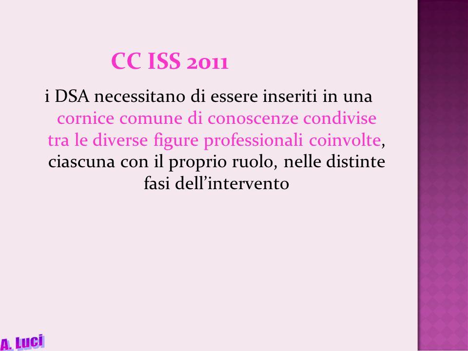 CC ISS 2011 i DSA necessitano di essere inseriti in una cornice comune di conoscenze condivise tra le diverse figure professionali coinvolte, ciascuna con il proprio ruolo, nelle distinte fasi dellintervento