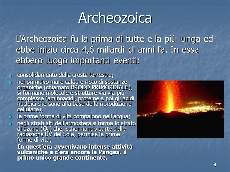 4 Archeozoica consolidamento della crosta terrestre; consolidamento della crosta terrestre; nel primitivo mare caldo e ricco di sostanze organiche (ch