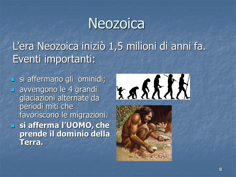 8 Neozoica si affermano gli ominidi; si affermano gli ominidi; avvengono le 4 grandi glaciazioni alternate da periodi miti che favoriscono le migrazio