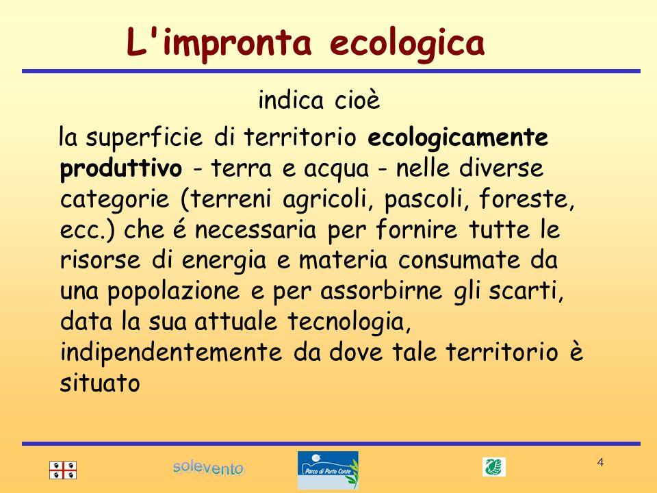 4 indica cioè la superficie di territorio ecologicamente produttivo - terra e acqua - nelle diverse categorie (terreni agricoli, pascoli, foreste, ecc