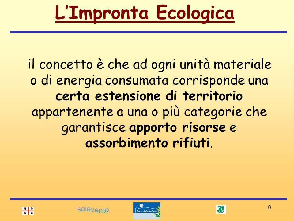 8 il concetto è che ad ogni unità materiale o di energia consumata corrisponde una certa estensione di territorio appartenente a una o più categorie c