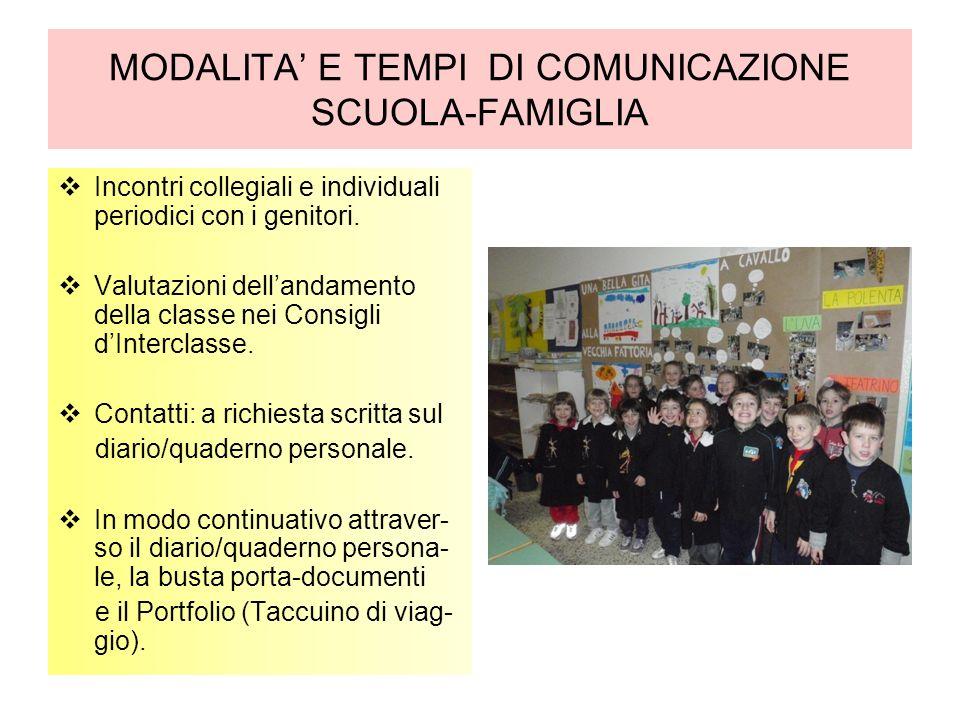 MODALITA E TEMPI DI COMUNICAZIONE SCUOLA-FAMIGLIA Incontri collegiali e individuali periodici con i genitori.