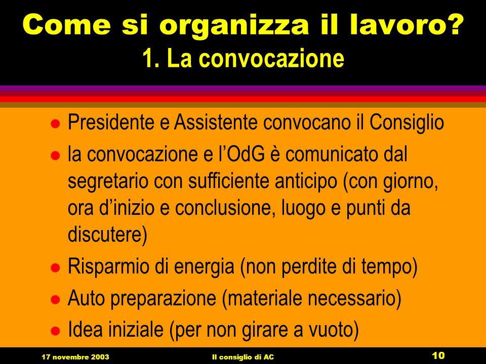 17 novembre 2003Il consiglio di AC 10 Come si organizza il lavoro.
