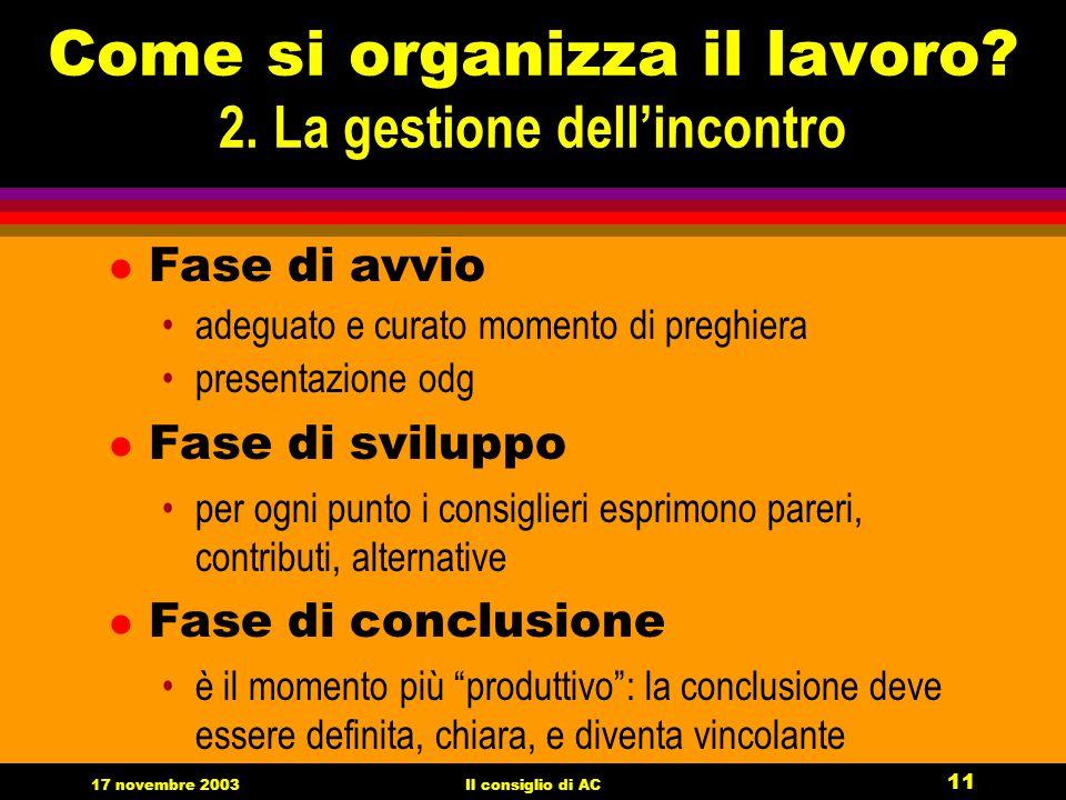 17 novembre 2003Il consiglio di AC 11 Come si organizza il lavoro.