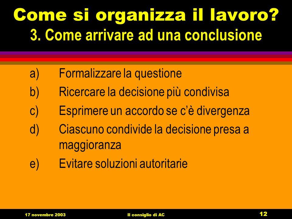 17 novembre 2003Il consiglio di AC 12 Come si organizza il lavoro.