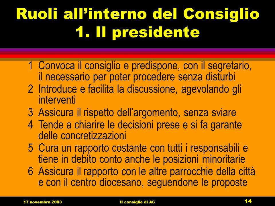 17 novembre 2003Il consiglio di AC 14 Ruoli allinterno del Consiglio 1.