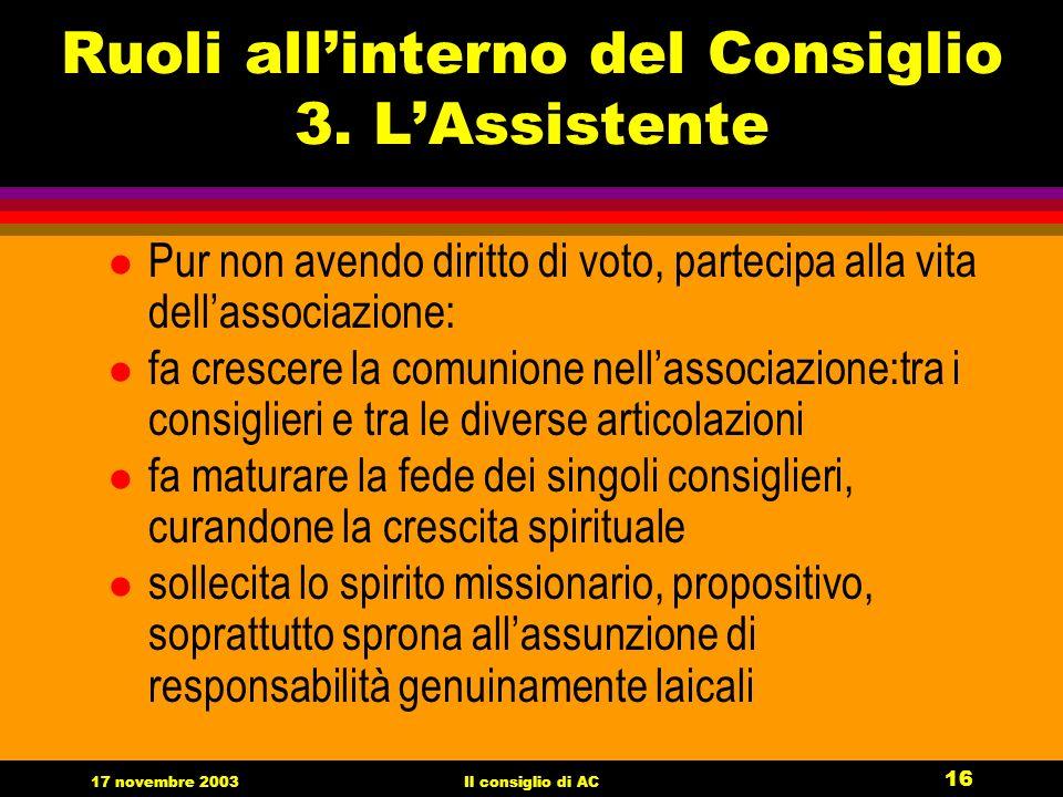 17 novembre 2003Il consiglio di AC 16 Ruoli allinterno del Consiglio 3.