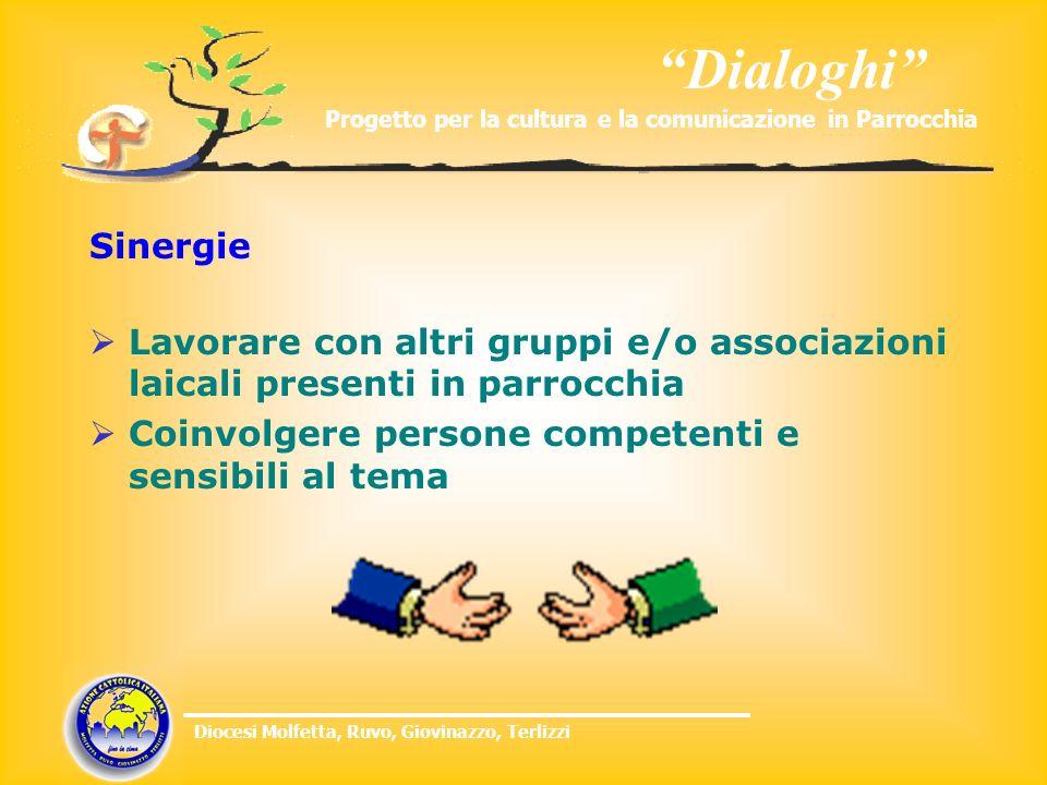 Dialoghi Progetto per la cultura e la comunicazione in Parrocchia Diocesi Molfetta, Ruvo, Giovinazzo, Terlizzi Sinergie Lavorare con altri gruppi e/o