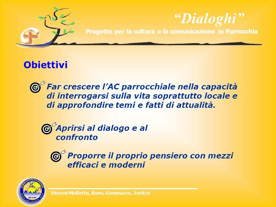 Dialoghi Progetto per la cultura e la comunicazione in Parrocchia Diocesi Molfetta, Ruvo, Giovinazzo, Terlizzi Obiettivi Aprirsi al dialogo e al confr