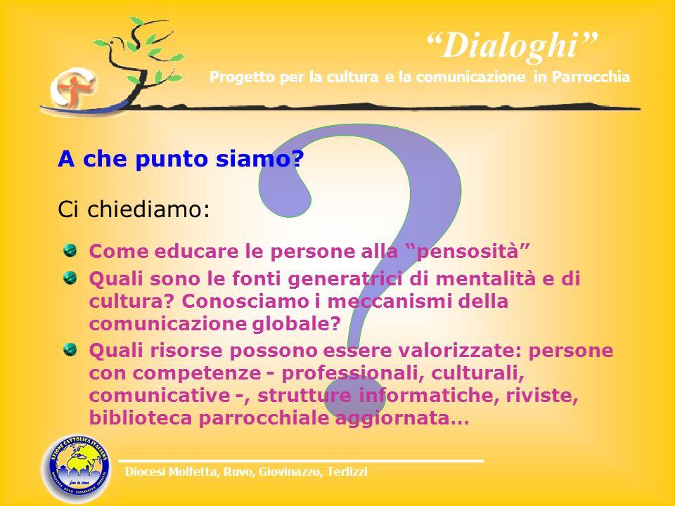 Dialoghi Progetto per la cultura e la comunicazione in Parrocchia Diocesi Molfetta, Ruvo, Giovinazzo, Terlizzi Ci chiediamo: Come educare le persone a