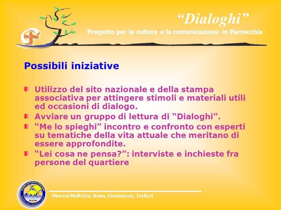 Dialoghi Progetto per la cultura e la comunicazione in Parrocchia Diocesi Molfetta, Ruvo, Giovinazzo, Terlizzi Possibili iniziative Utilizzo del sito