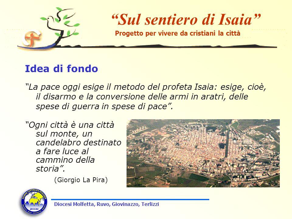 Sul sentiero di Isaia Progetto per vivere da cristiani la città Diocesi Molfetta, Ruvo, Giovinazzo, Terlizzi Idea di fondo La pace oggi esige il metod