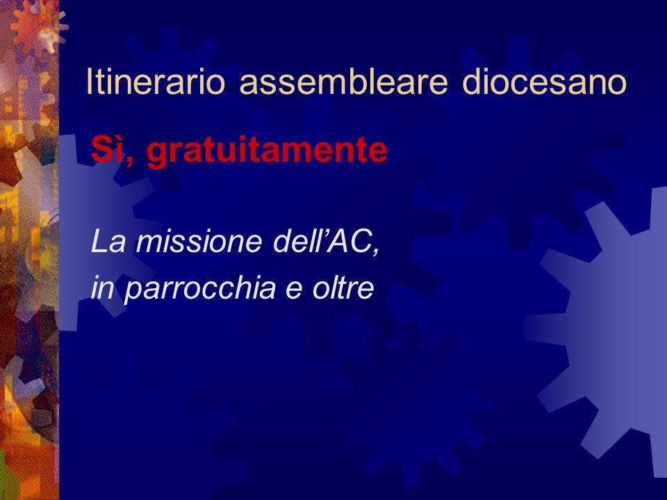 Itinerario assembleare diocesano Sì, gratuitamente La missione dellAC, in parrocchia e oltre