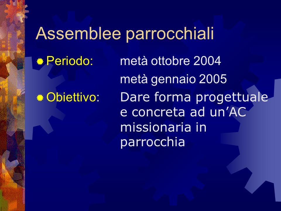 Assemblee parrocchiali Periodo: metà ottobre 2004 metà gennaio 2005 Obiettivo: Dare forma progettuale e concreta ad unAC missionaria in parrocchia