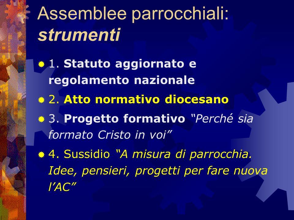 Assemblee parrocchiali: supporto diocesano La Presidenza diocesana si impegna a offrire disponibilità per programmare insieme litinerario assembleare parrocchiale.