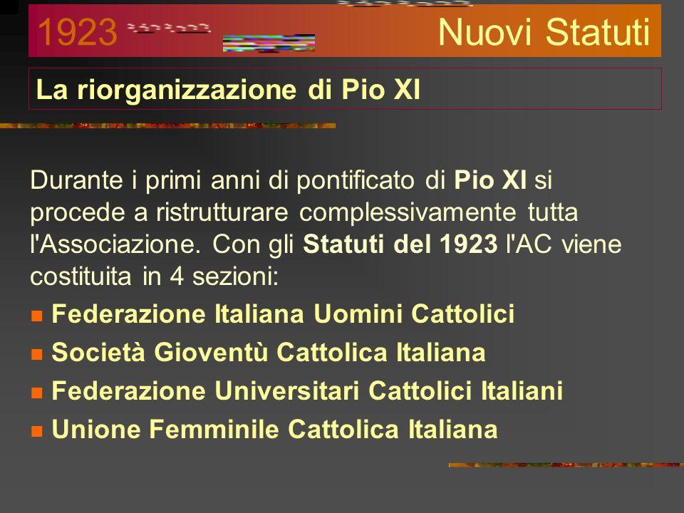 Nasce lUnione Uomini Cattolici Nel dopoguerra, con la nascita del Partito Popolare di don Sturzo (segretario della Giunta di AC) e la fine del non exp