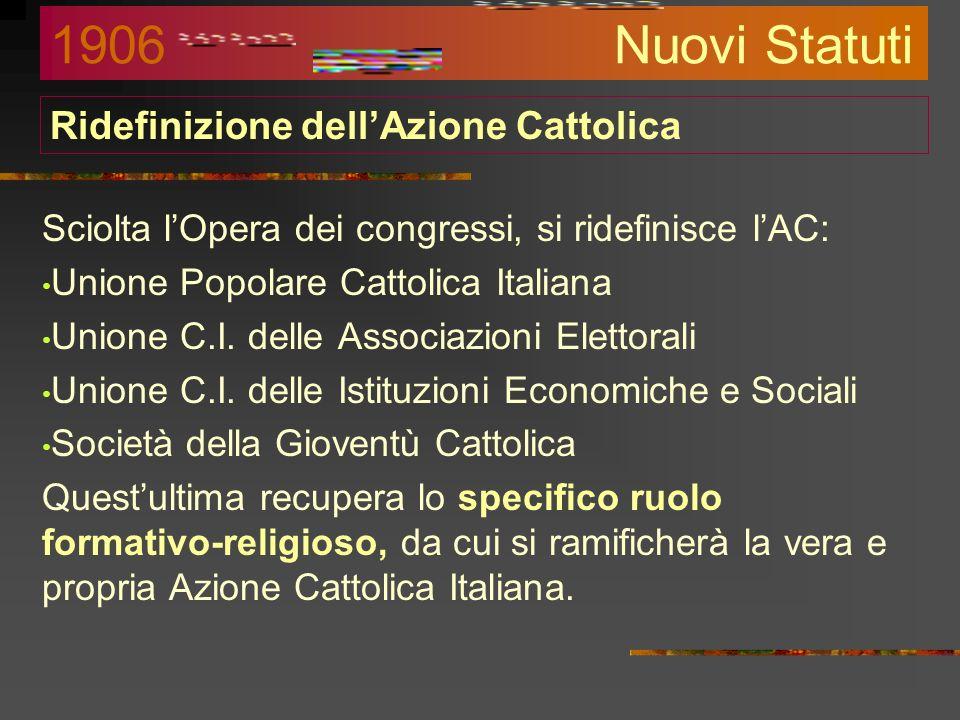 Ridefinizione dellAzione Cattolica Sciolta lOpera dei congressi, si ridefinisce lAC: Unione Popolare Cattolica Italiana Unione C.I.